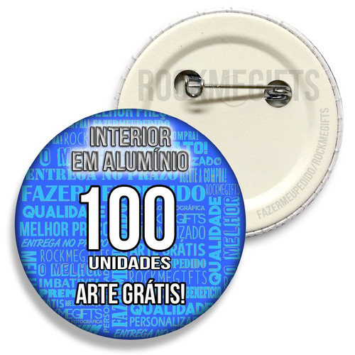 100 botons botton buttons 4,5cm personalizados - qualidade