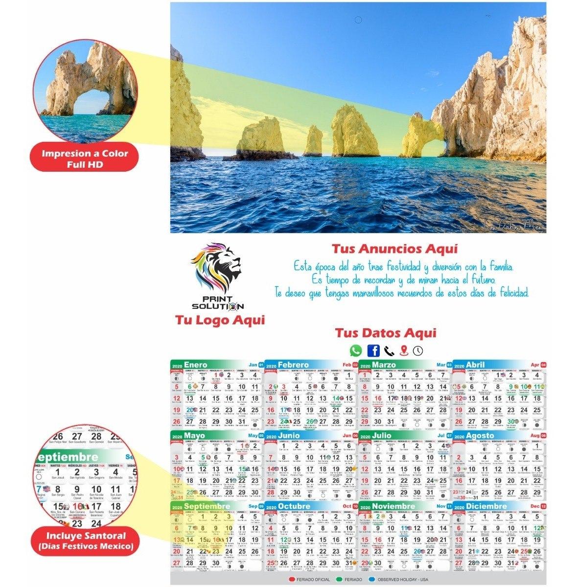 Calendario Agosto 2020 Para Imprimir Gratis.100 Calendarios 2020 C Santoral 43cm X 27cm Envio Gratis Personalizados