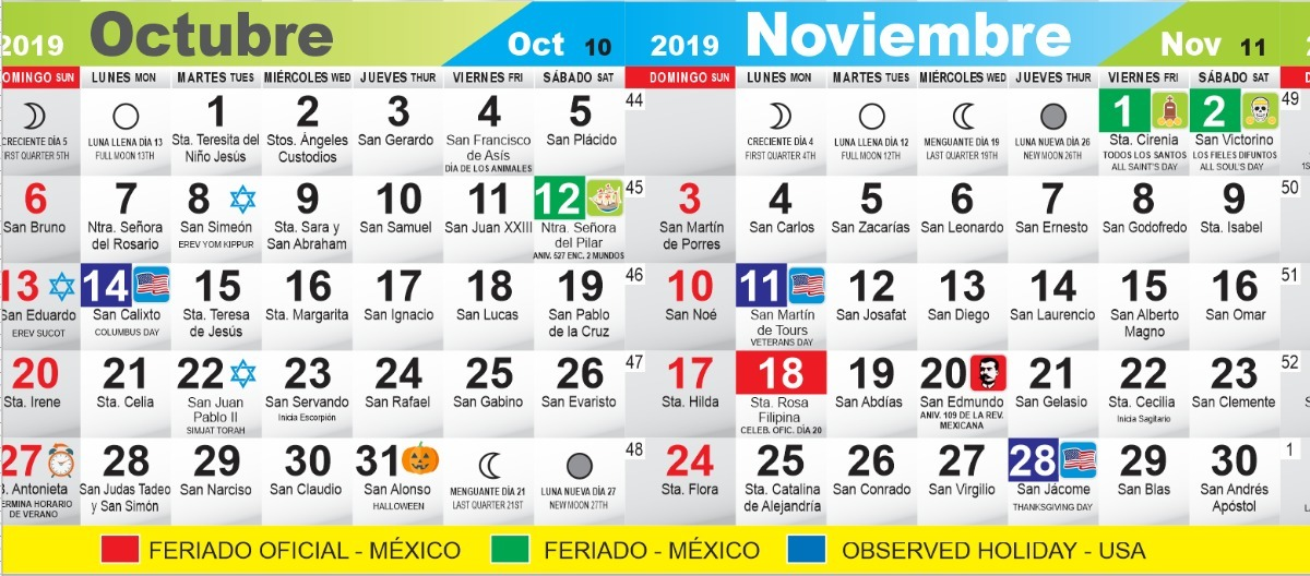 Calendario 2020 Mexico Con Dias Festivos Para Imprimir.100 Calendarios 2020 C Santoral 43cm X 27cm Envio Gratis Personalizados