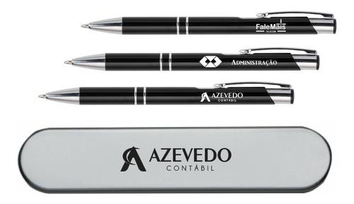 100 canetas de metal com estojo personalizados