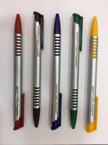 100 canetas plasticas brinde personalizada á laser