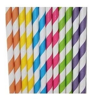 100 canudo de papel vintage coloridos ecologicamente correto