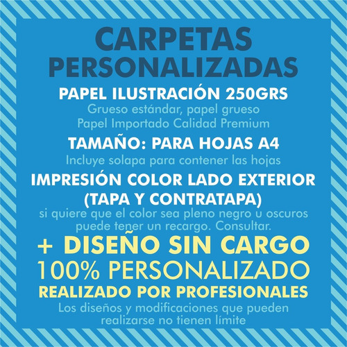 100 carpetas a4 personalizadas 250grs con solapa + diseño