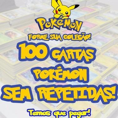 100 cartas pokemon/sem repetidas + 10 cartas raras originais