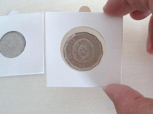 100 cartoncitos autoadhesivos para monedas a elección oferta