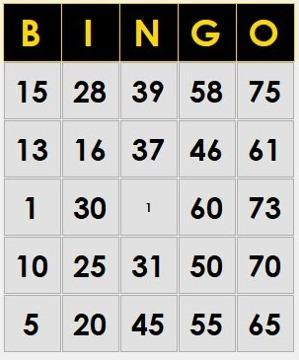 100 cartones digitales para jugar bingo predeterminado