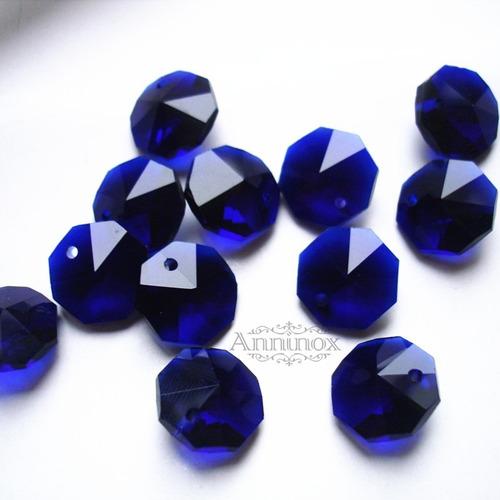 100 castanhas k9 azul 14mm para lustres de cristal - linda
