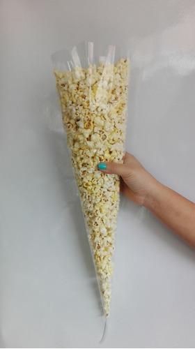 100 cono celofán liso palomero grande