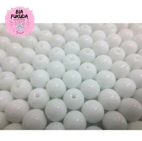 100 contas de porcelana branca 8mm umbanda candomblé