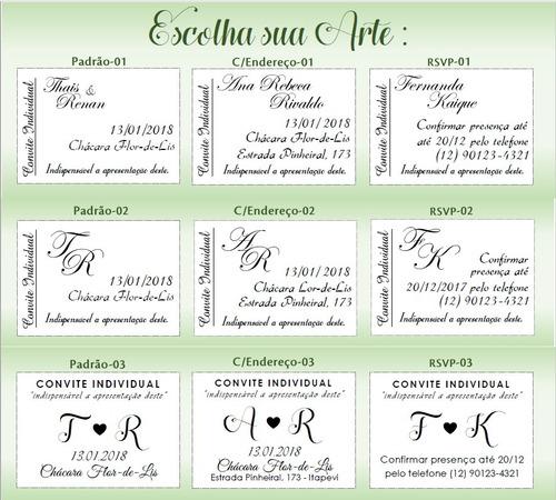 100 convite individual rústico casamento - frete gratis!!!