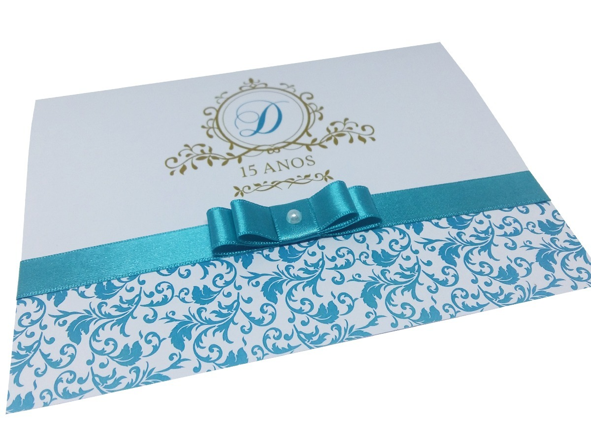 Convite De Quinze Anos: 100 Convites 15 Anos Azul Tiffany E Dourado