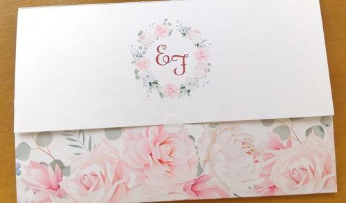 100 convites de casamento barato - tamanho grande c/ fita