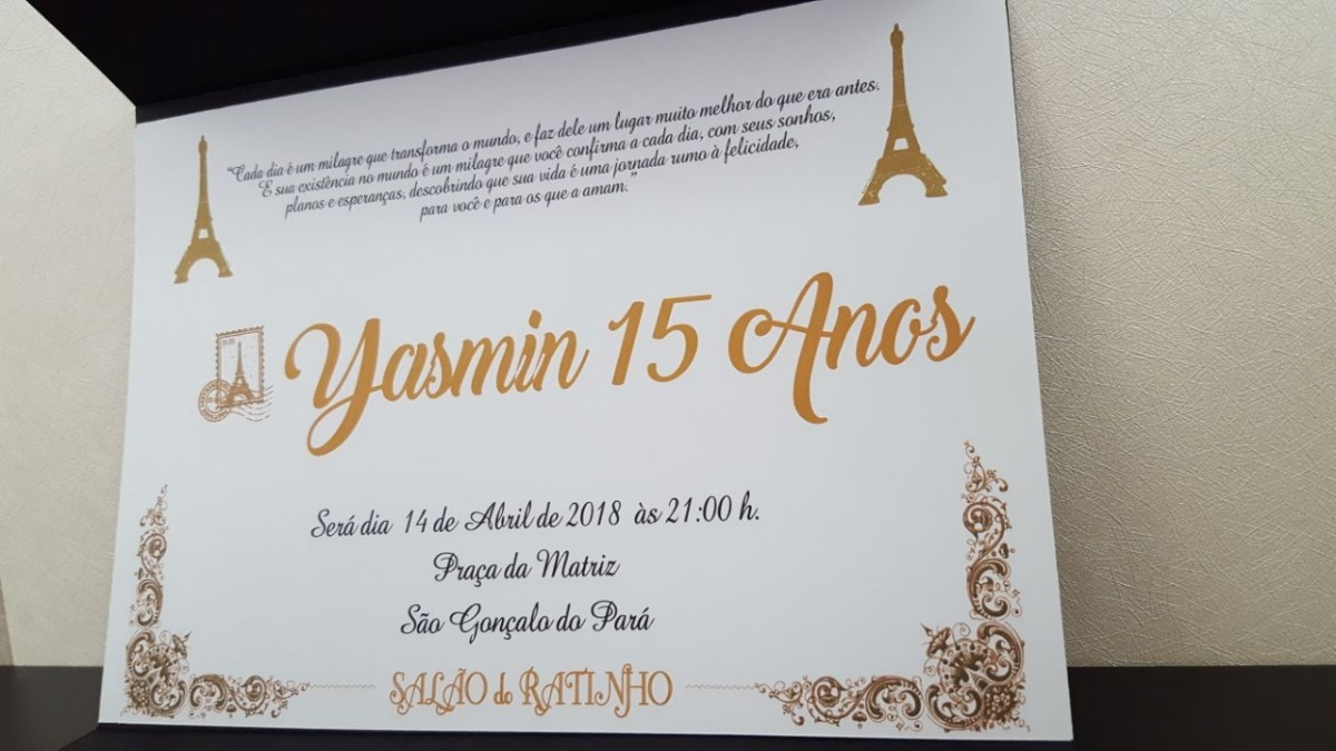 Convite De Aniversario De 15 Anos: 100 Convites Preto De 15 Anos Paris, Casamento