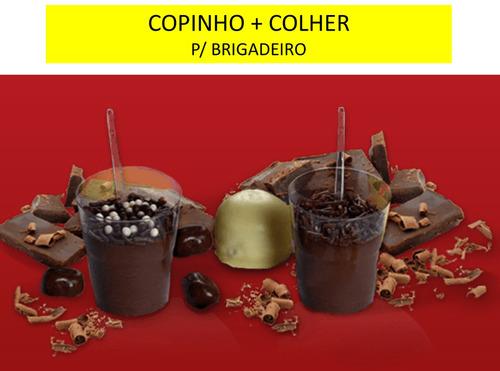 100 copinho p/doces acrilico 25ml + mini colher 100 unidades