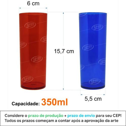 100 copos personalizados long drink 350ml frente e verso
