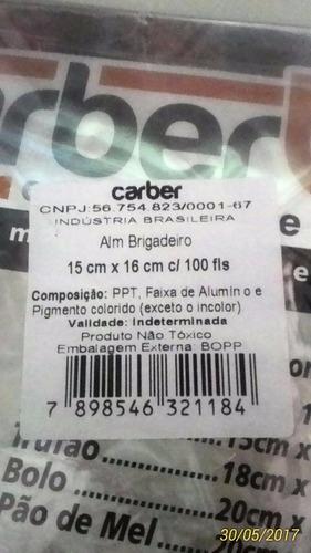 100 embalagens p/ trufas e bombons carber o original 15x16cm