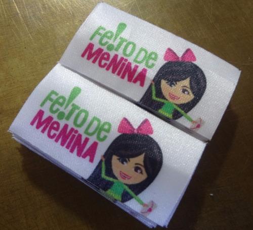 100 etiquetas de tecido personalizadas 6x2 cm