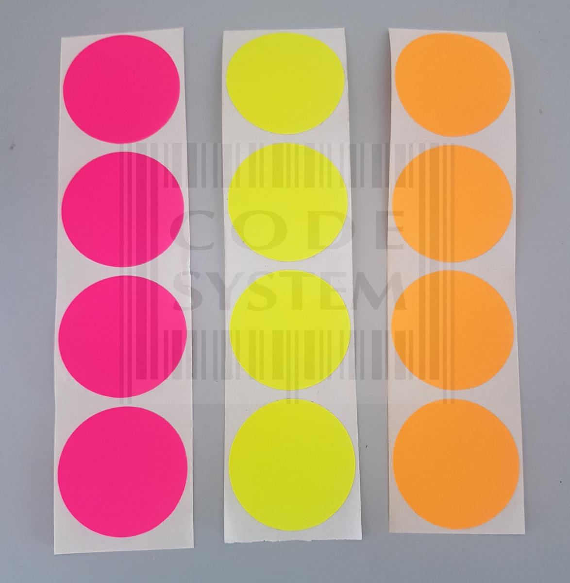 100 Etiquetas Redondas Fluor Impresas Autoadhesivas De 50 Mm