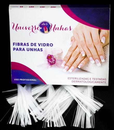 100 fibras de vidro p/ unhas +  6 presilhas curvatura c