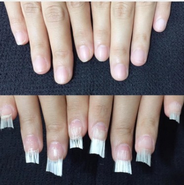 100 fibras de vidro para unhas pinça + 12 presilhas curva c