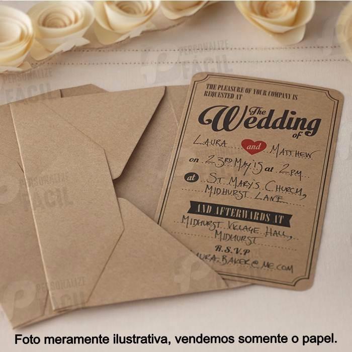 100 Fls Papel Kraft 200g A4 P Convite Casamento Bem Escuro R 32