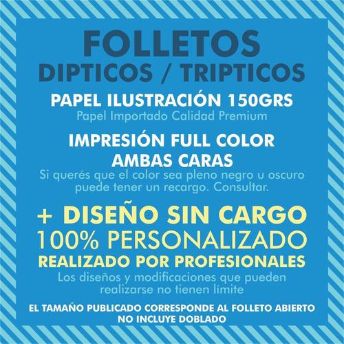 100 folletos dípticos color 21x15cm 150g + diseño gratis