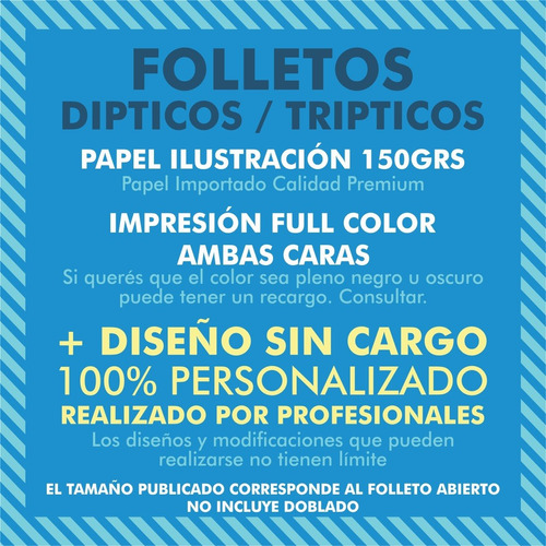 100 folletos trípticos a4 (21x30) color 150g + diseño gratis