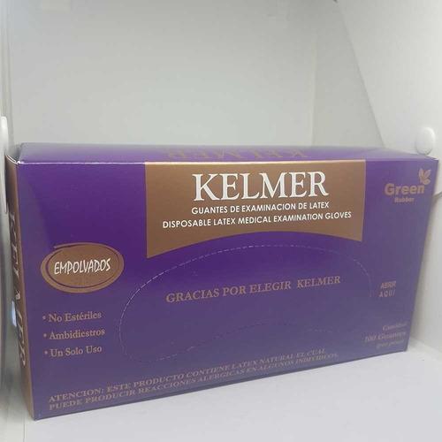 100 guantes descartable kelmer látex exáminar large