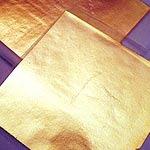 100 hojas  oro 16x16 arte con 1/4 pegamento y 1/2 barniz