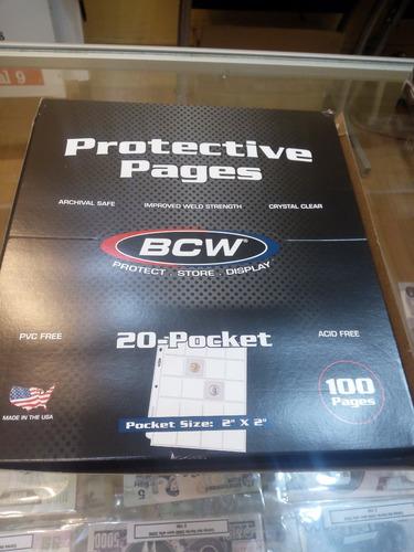 100 hojas para monedas 20 espacios bcw envio incluido