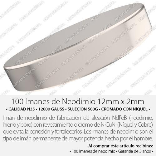 100 imanes de neodimio de 12mm x 2mm cilindro + envío gratis
