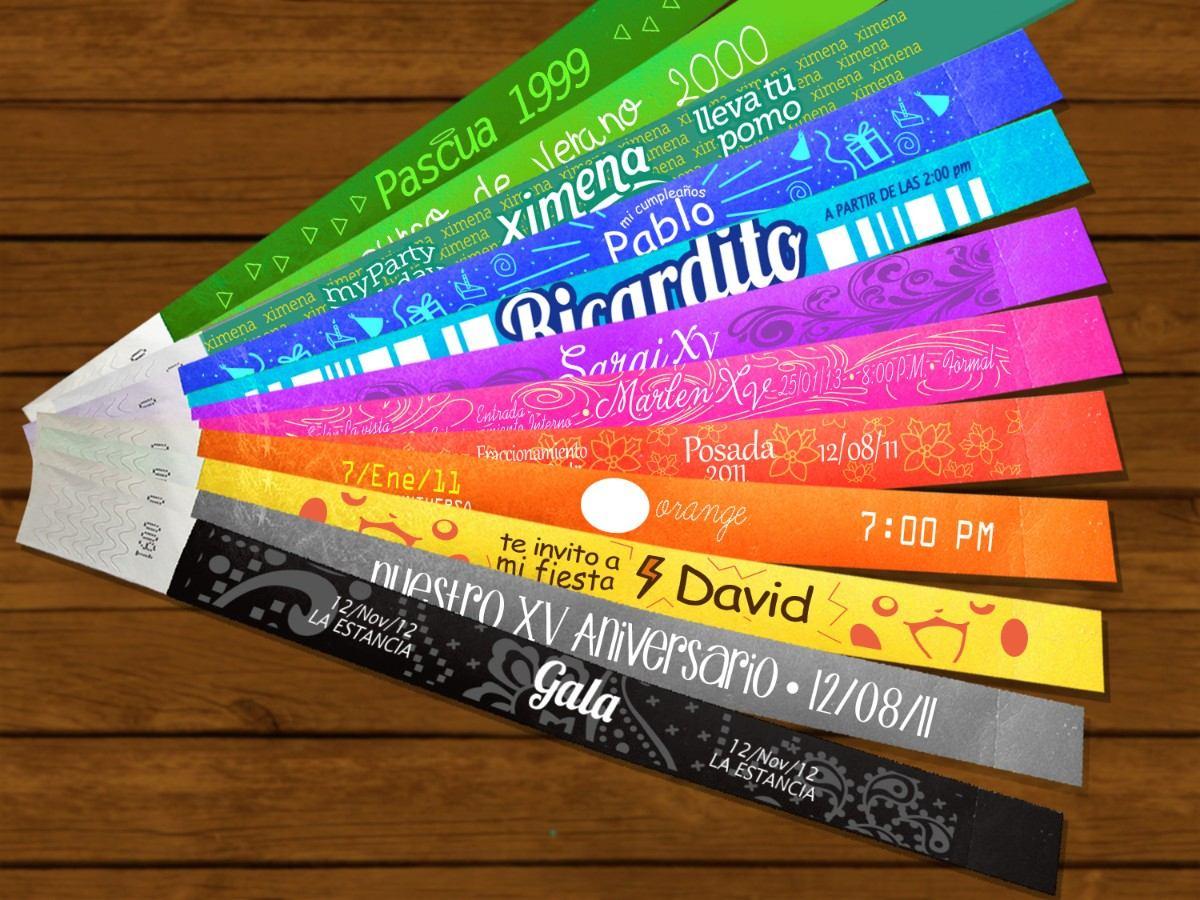 100 invitaciones 2 tintas diseño d lujo pulseras tyveck
