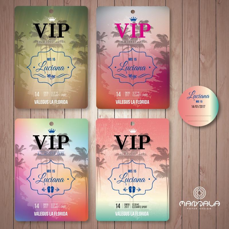 6c2b6ef2aaef 100 Invitaciones Credenciales Pase Vip Quince Doble Faz