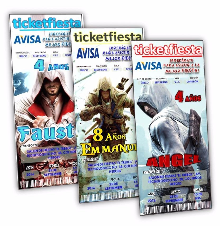 100 Invitaciones Impresas Assassins Creed ¡envio Gratis! - $ 599.99 ...