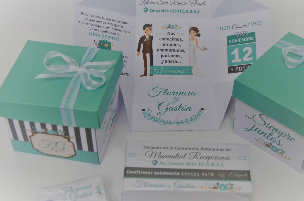 050f022c2 100 Invitaciones Tarjetas Cajitas 15 Años Casamiento Bodas - $ 4.600 ...