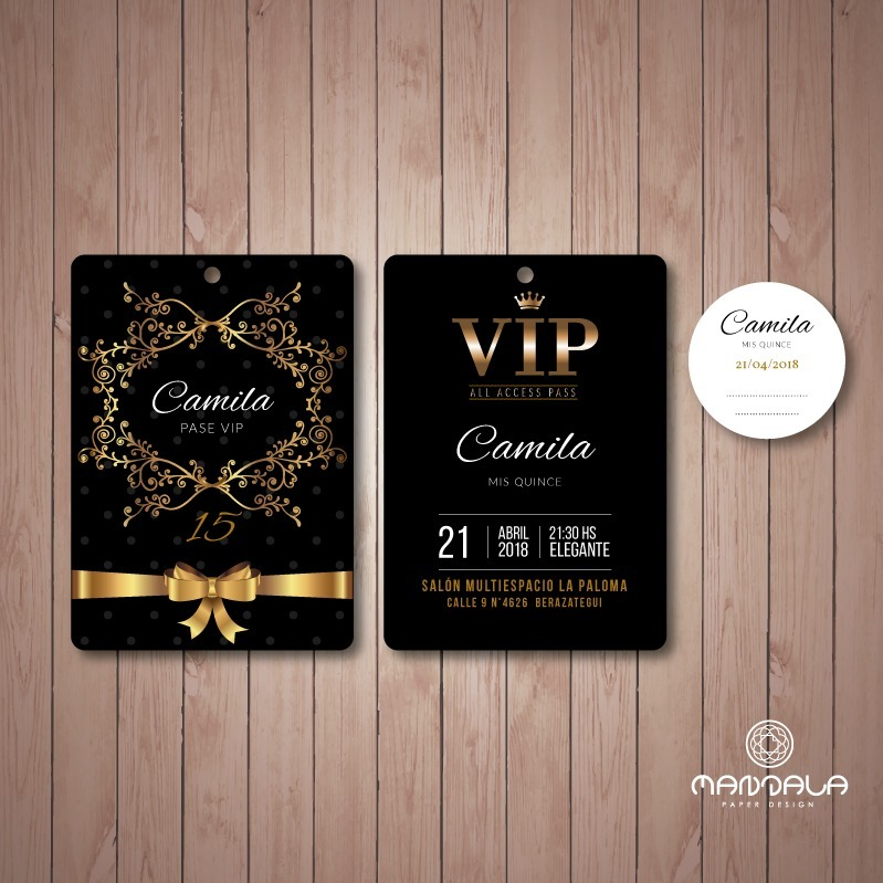 100 Invitaciones Tarjetas Pase Vip 15 Doble Faz Sticker