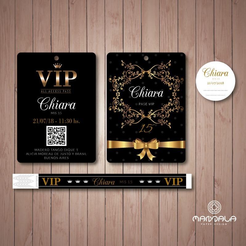 cb057d1bf4a3 100 Invitaciones Vip 15 Años Doble Faz + 100 Pulseras Vip