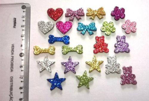 100 laços pet adesivos em eva sortidos piercing bind