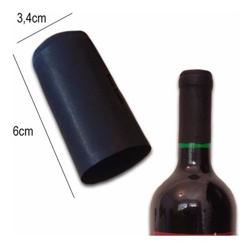 100 lacre capsulas termoencolhível p/ vinho preta 34mm x60mm