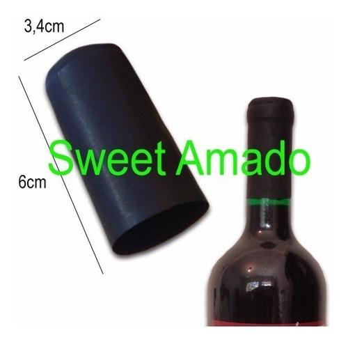 100 lacre termoencolhível p/ vinho cor preto 3,4cm x 6cm