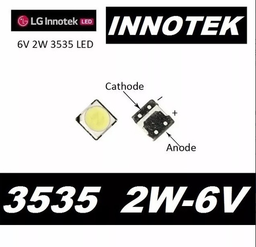 1,00  led backlight tv lg lb innotek 3535 smd 2w 6v 200ma