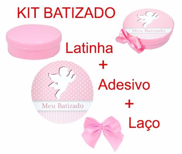 Armario Horizontal Inox ~ 100 Lembrancinha Batizado Menina Latinha Adesivo Laço R$ 72,00 em Mercado Livre