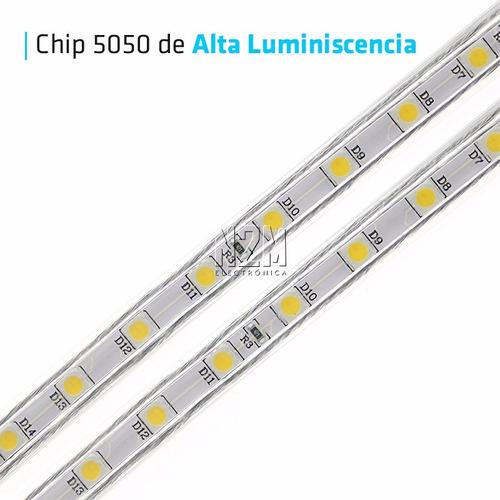 100 metros tira led 5050 220v siliconada apto exterior