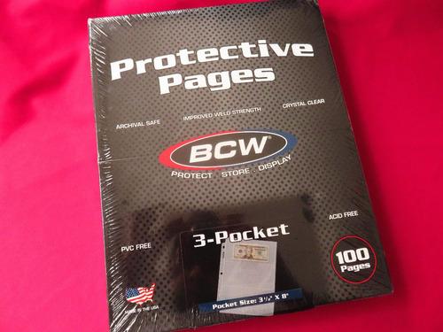 100 micas hojas bcw para billetes 3 espacios 100 piezas