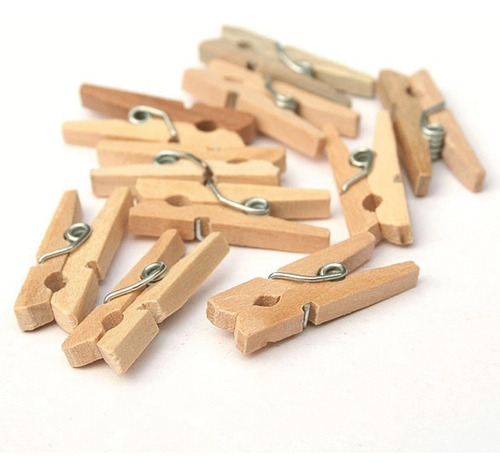 100 mini broches color natural - brochecitos de madera 3.5cm