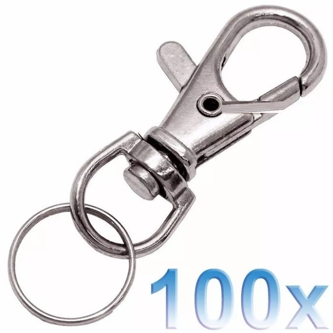 fadc885ad056b 100 Mini Mosquetão Metal Chaveiro Gancho Níquel Argola Fecho - R ...