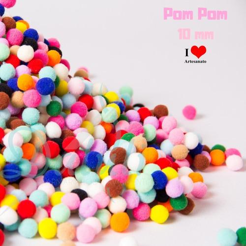 100 mini pompom fibra sintética para artesanatos - 1 cm