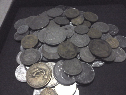 100 moedas antigas nacionais (níquel, bronze, alumínio, aço)