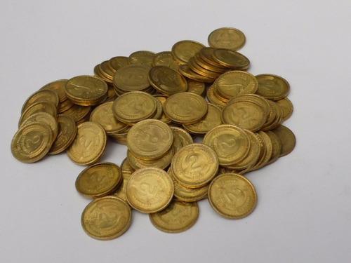 100 monedas de 2 centesimos años 1964 a 1970