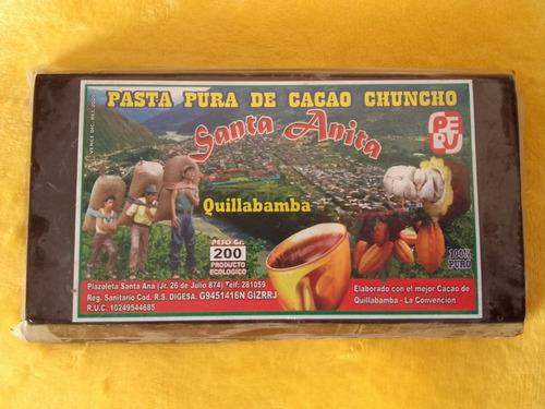 100% pasta pura de chocolate organico del cusco